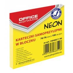 KARTECZKI OFFICE PRODUCTS 76x76mm ŻÓŁTE NEON (100)