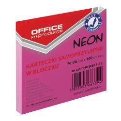 KARTECZKI OFFICE PRODUCTS 76x76mm RÓŻOWE NEON (100