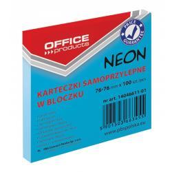 KARTECZKI OFFICE PRODUCTS 76x76mm NIEBI NEON (100)