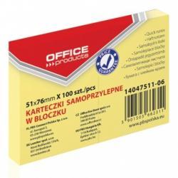 KARTECZKI OFFICE PRODUCTS 51x76mm ŻÓŁTE (100)