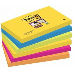 KARTECZKI POST-IT SUPER STICKY 76 X 127 MM 655-6SS-RIO MIX KOLORÓW (6 X 90)