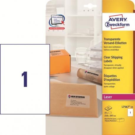ETYKIETY ADRESOWE AVERY A4 (DO PACZEK I PRZESYŁEK) DO DRUKAREK LASEROWYCH
