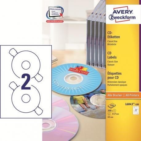 ETYKIETY NA PŁYTY CD/DVD AVERY CLASSICSIZE 117 MM 2 ETYKIETY/A4 200 SZT. BIAŁE MATOWE EKOLOGICZNE