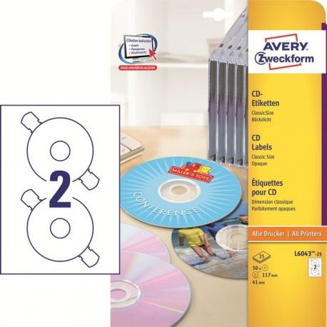 ETYKIETY NA PŁYTY CD/DVD AVERY CLASSICSIZE 117 MM 2 ETYKIETY/A4 50 SZT. BIAŁE MATOWE EKOLOGICZNE