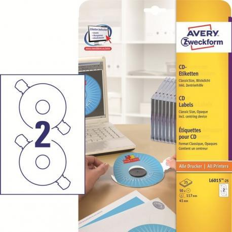 ETYKIETY NA PŁYTY CD/DVD Z NAKŁADKĄ CENTRUJĄCĄ 117 MM 2 ETYKIETY/A4 50 SZT. AVERY