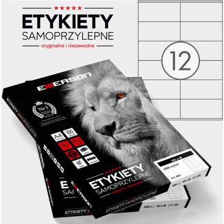 ETYKIETY 105 X 48.0 MM. 12 SZT/A4 EMERSON UNIWERSALNE