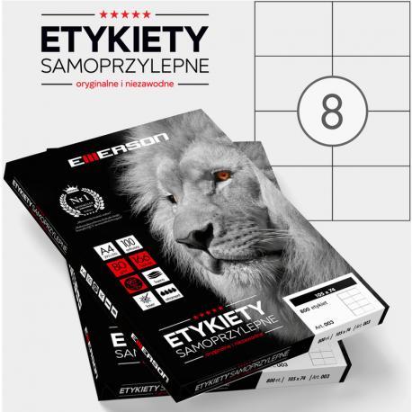 ETYKIETY 105 X 74.0 MM. 8 SZT/A4 EMERSON UNIWERSALNE