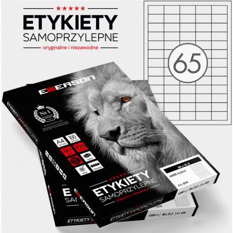 ETYKIETY 38 X 21.2 MM. 65 SZT/A4 EMERSON UNIWERSALNE