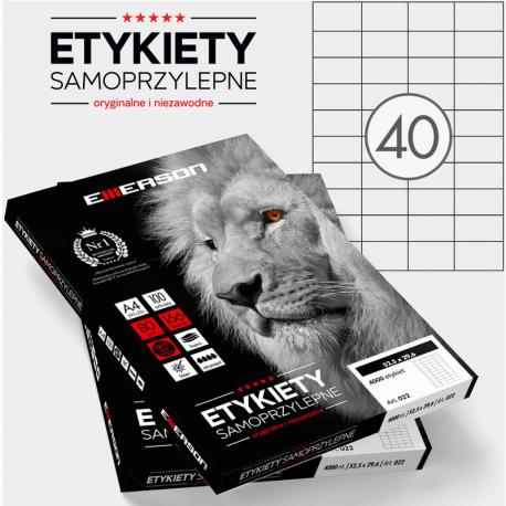ETYKIETY 52.5 X 29.6 MM. 40 SZT/A4 EMERSON UNIWERSALNE
