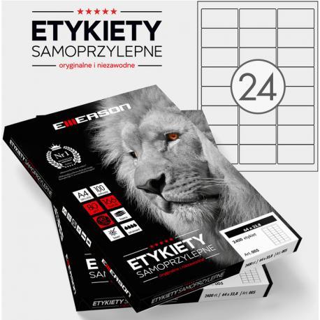 ETYKIETY 64 X 33.8 MM. 24 SZT/A4 EMERSON UNIWERSALNE