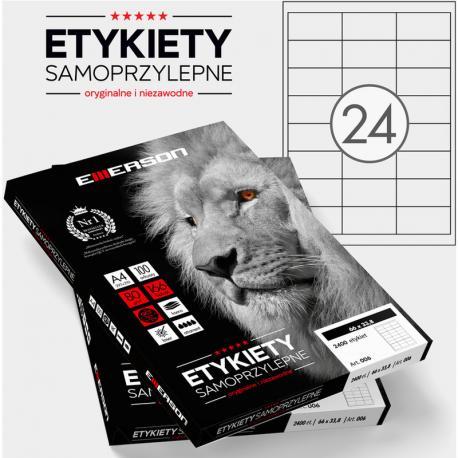 ETYKIETY 66 X 33.8 MM. 24 SZT/A4 EMERSON UNIWERSALNE