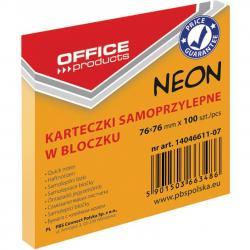 KARTECZKI OFFICE PRODUCTS 76X 76 MM POMARAŃCZOWE (100), POMARAŃCZOWY