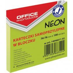 KARTECZKI OFFICE PRODUCTS 76X 76 MM ZIELONE (100), ZIELONY
