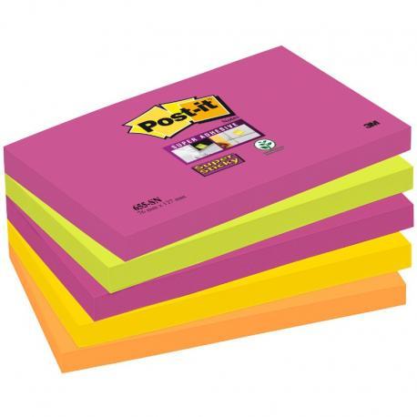 KARTECZKI POST-IT SUPER STICKY 76 X 127 MM 5 KOLORÓW 655S-N (5 X 90)