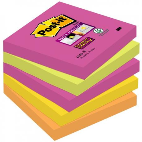 KARTECZKI POST-IT SUPER STICKY 76 X 76 MM 654S-N MIX KOLORÓW (5 X 90)