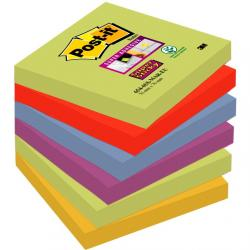 KARTECZKI POST-IT SUPER STICKY 76 X 76 MM 654-6SS-MAR MIX KOLORÓW (6 X 90)