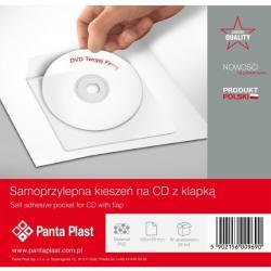 KIESZENIE SAMOPRZYLEPNE PVC NA PŁYTĘ CD / DVD 120 X 120 MM PANTA PLAST 25 SZT.