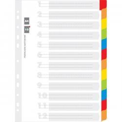 PRZEKŁADKI KOLOROWE KARTONOWE A4 INDEX LAMINOWANY 12 kolorów