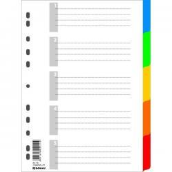 PRZEKŁADKI PLASTIKOWE 5 KARTEK DONAU PP A4 KOLOROWE EKOLOGICZNE