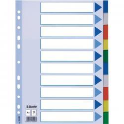 PRZEKŁADKI PLASTIKOWE 10 KARTEK ESSELTE PP A4 KOLOROWE