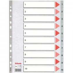 PRZEKŁADKI 1-10 PLASTIKOWE ESSELTE PP A4 NUMERYCZNE SZARE