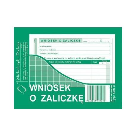 WNIOSEK O ZALICZKĘ (OFFSET) MICHALCZYK I PROKOP A6