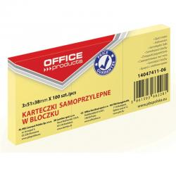 KARTECZKI OFFICE PRODUCTS 38 X 51 MM ŻÓŁTE (3 X 100)