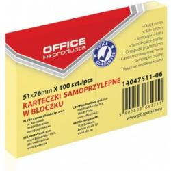 KARTECZKI OFFICE PRODUCTS 51 X 76 MM ŻÓŁTE (100)