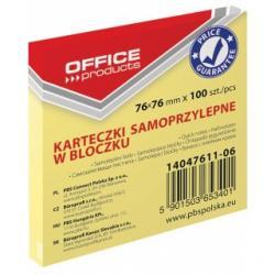 KARTECZKI OFFICE PRODUCTS 76X 76 MM ŻÓŁTE (100)
