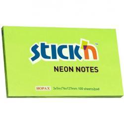 KARTECZKI STICK'N 76 X 127 MM ZIELONE NEON (100)