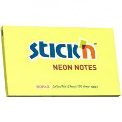 KARTECZKI STICK'N 76 X 127 MM NEONOWE KOLORY (100), ŻÓŁTY