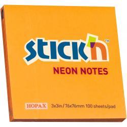 KARTECZKI STICK&039N 76 X 76 MM NEONOWE KOLORY (100), POMARAŃCZOWY