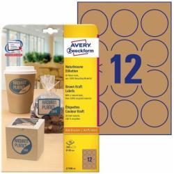 Brązowe etykiety na produkty Avery Zweckform, 25 ark./op., O60 mm, BRĄZOWY