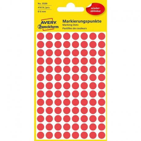 Usuwalne kółka do zaznaczania Avery Zweckform, 416 etyk./op., O8 mm, czerwone, CZERWONY