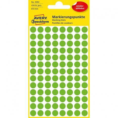 Usuwalne kółka do zaznaczania Avery Zweckform, 416 etyk./op., O8 mm, zielone, ZIELONY
