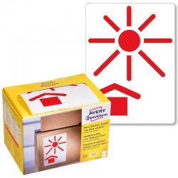 Ostrzegawcze etykiety wysyłkowe Avery Zweckform &039Chronić przed nagrzewaniem&039 w dyspenserze, 200 etyk./op., 74 x 100 mm,