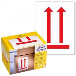 Ostrzegawcze etykiety wysyłkowe Avery Zweckform &039Tutaj góra&039 w dyspenserze, 200 etyk./op., 74 x 100 mm, CZERWONO BIAŁY