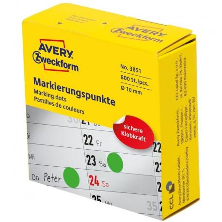 Kółka do zaznaczania w dyspenserze Avery Zweckform, 800 szt./rolka, O10 mm, zielone, ZIELONY