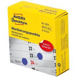 Kółka do zaznaczania w dyspenserze Avery Zweckform, 800 szt./rolka, O10 mm, niebieskie, NIEBIESKI