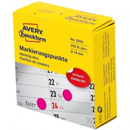 Kółka do zaznaczania w dyspenserze Avery Zweckform, 250 szt./rolka, O19 mm, różowe, RÓŻOWY