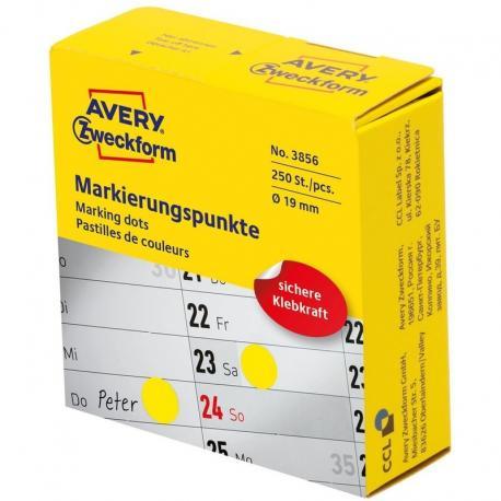Kółka do zaznaczania w dyspenserze Avery Zweckform, 250 szt./rolka, O19 mm, żółte, ŻÓŁTY