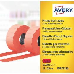 Etykiety cenowe w rolce do metkownicy jednorzędowej Avery Zweckform, 10 rolek/op., 12 x 26 mm, CZERWONY