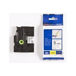 Taśma Brother laminowana elastyczna Flexi ID 9mm x 8m czarny nadruk /białe tło