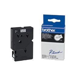 Taśma laminowana Brother 12 mm x 8m | czarny nadruk / białe tło