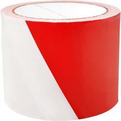 Taśma ostrzegawcza 75mm/100m biało-czerwona