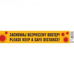 """Naklejka Office Products 8x45cm """"ZACHOWAJ BEZPIECZNY ODSTĘP!"""""""