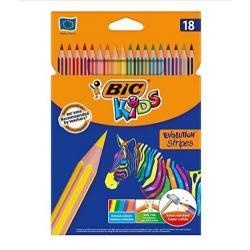 Kredki ołówkowe BiC Kids Evolution Stripes 18 kolo