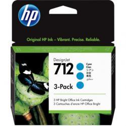 Zestaw trzech tuszy HP 712 | 3x 29ml | cyan