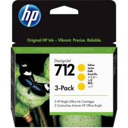 Zestaw trzech tuszy HP 712 | 3x 29ml | yellow