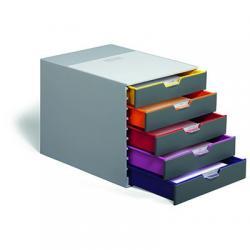 VARICOLOR pojemnik z pięcioma kolorowymi szufladkami. Wymiary: 280x292x356 mm (WxSxG)